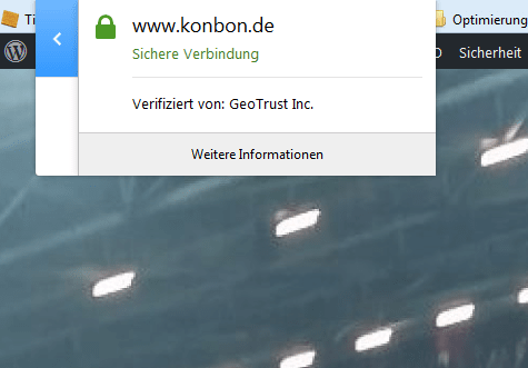 KonBon SSL Zertifikat Screenshot